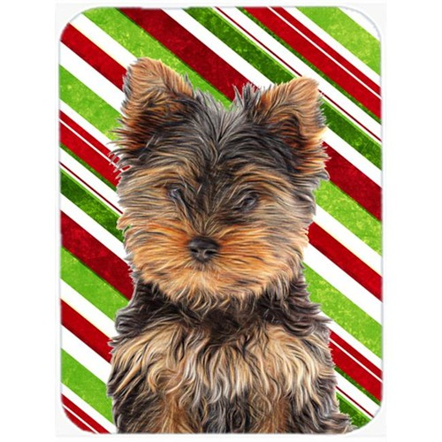 Carolines Treasures KJ1174MP Candy Cane Holiday Christmas Yorkie Puppy & Yorkshire Terrier Mouse Pad Hot Pad or Trivet