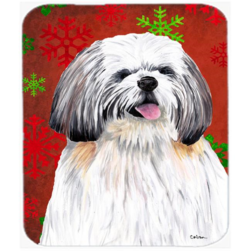 Carolines Treasures SC9423MP Shih Tzu Red And Green Snowflakes Christmas Mouse Pad Hot Pad Or Trivet
