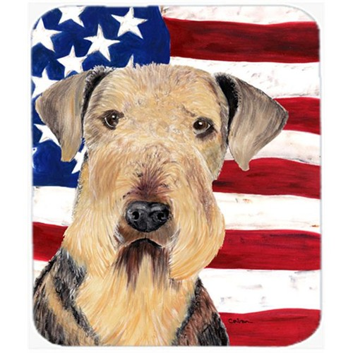 Carolines Treasures SC9007MP Usa American Flag With Airedale Mouse Pad Hot Pad Or Trivet