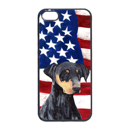 Carolines Treasures SC9030IP4 USA American Flag With Doberman Iphone 4 Cover