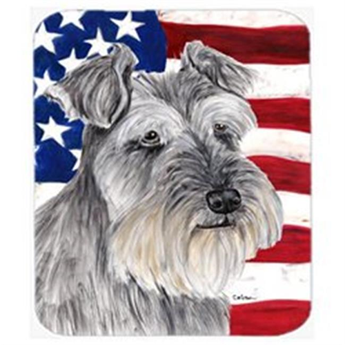 Carolines Treasures SC9110MP Usa American Flag With Schnauzer Mouse Pad Hot Pad Or Trivet