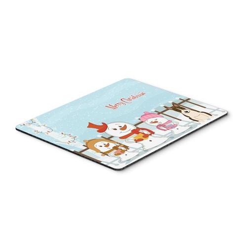 Carolines Treasures BB2467MP Merry Christmas Carolers Bull Terrier Dark Brindle Mouse Pad Hot Pad or Trivet