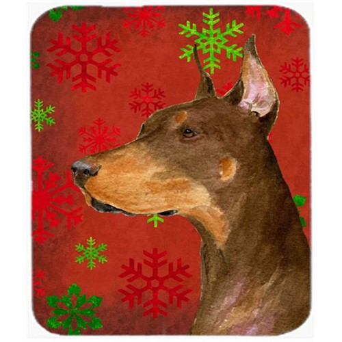 Carolines Treasures SS4675MP Doberman Red and Green Snowflakes Christmas Mouse Pad Hot Pad or Trivet