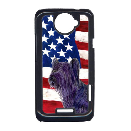Carolines Treasures SS4219HTCONE USA American Flag With Skye Terrier HTC One X Cell Phone Cover