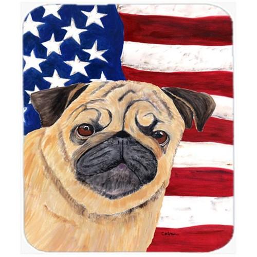 Carolines Treasures SC9006MP Usa American Flag With Pug Mouse Pad Hot Pad Or Trivet
