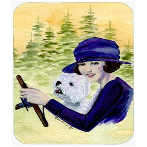 Carolines Treasures SS8532MP Woman Driving With Her Westie Mouse Pad Hot Pad or Trivet