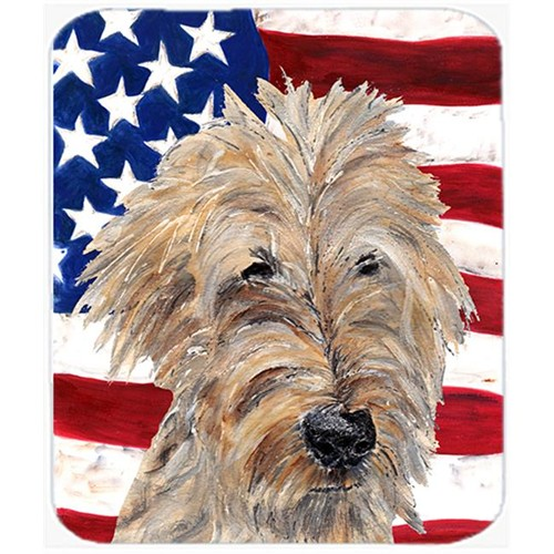 Carolines Treasures SC9521MP 7.75 x 9.25 In. Goldendoodle USA American Flag Mouse Pad Hot Pad or Trivet