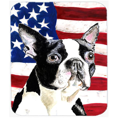 Carolines Treasures SC9001MP Usa American Flag With Boston Terrier Mouse Pad Hot Pad Or Trivet