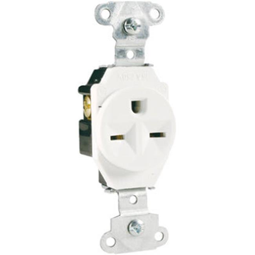 Pass & Seymour 5651WCC8 Heavy Duty Single Outlet 15A White