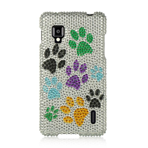DreamWireless FDLGLS970SLMTDP LG Optimus G Sprint Ls970 Full Diamond Case Silver Multi Dog
