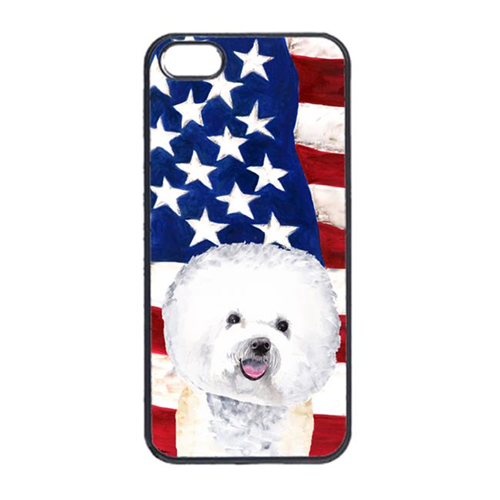 Carolines Treasures SC9014IP4 USA American Flag With Bichon Frise Iphone 4 Cover