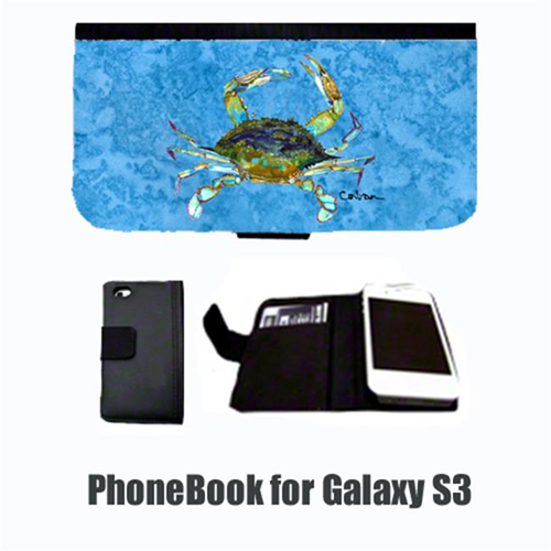 Carolines Treasures 8656-NBGALAXYS3 Crab on blue Cell Phonebook Cell Phone case Cover for GALAXY S3