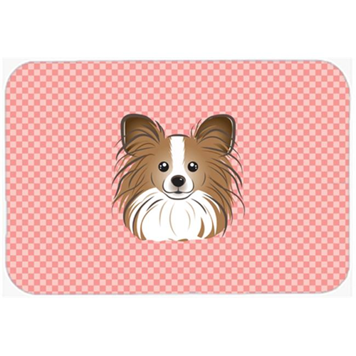Carolines Treasures BB1248MP Checkerboard Pink Papillon Mouse Pad Hot Pad Or Trivet 7.75 x 9.25 In.