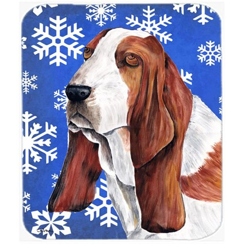 Carolines Treasures SC9372MP Basset Hound Winter Snowflakes Holiday Mouse Pad Hot Pad or Trivet