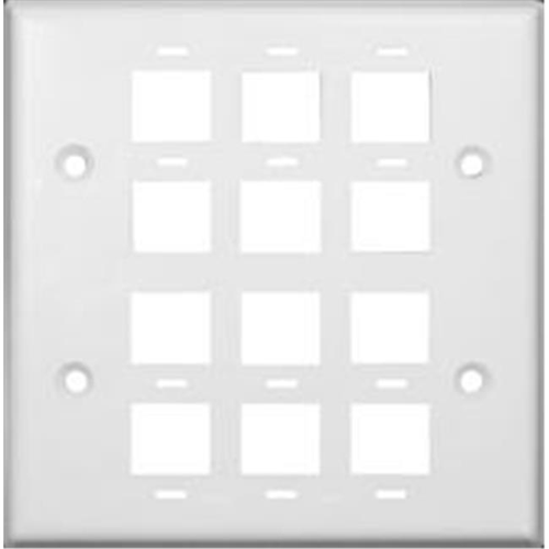 Morris Products 88172 Wallplate For Keystone Jacks And Modular Inserts 12 Ports 2 Gang White