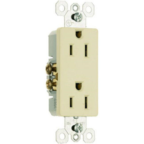 Pass & Seymour 885ICC21 15A 125V 2 Pole 3 Wire Grounding Premium Decorator Outlet Ivory