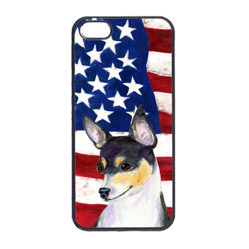 Carolines Treasures SS4002IP4 USA American Flag With Fox Terrier Iphone 4 Cover