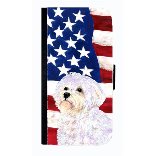 Carolines Treasures SS4043NBGALAXYS4 USA American Flag With Maltese Cell Phonebook Case Cover For Galaxy 4S