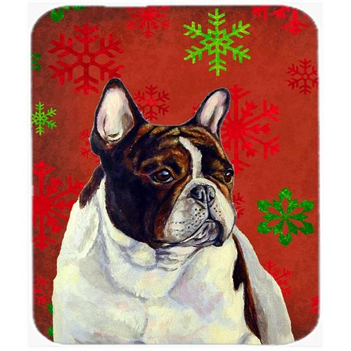 Carolines Treasures LH9337MP French Bulldog Red And Green Snowflakes Christmas Mouse Pad Hot Pad Or Trivet - 7.75 x 9.25 In.