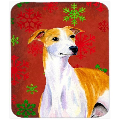 Carolines Treasures LH9328MP Whippet Red And Green Snowflakes Holiday Christmas Mouse Pad Hot Pad Or Trivet - 7.75 x 9.25 In.