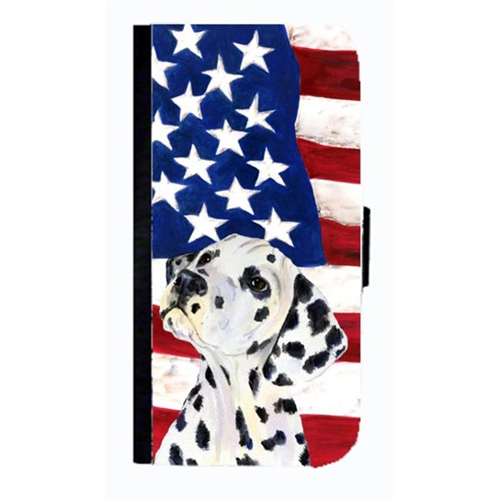 Carolines Treasures SS4018NBGALAXYS4 USA American Flag With Dalmatian Cell Phonebook Case Cover For Galaxy 4S
