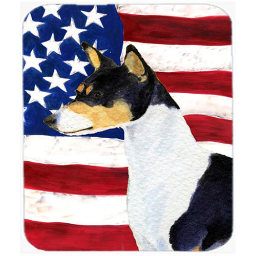 Carolines Treasures SS4041MP Usa American Flag With Basenji Mouse Pad Hot Pad Or Trivet