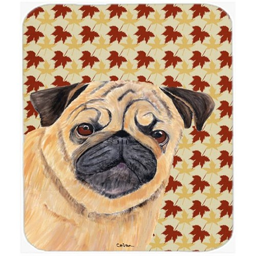 Carolines Treasures SC9211MP Pug Fall Leaves Portrait Mouse Pad Hot Pad or Trivet