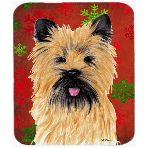 Carolines Treasures SC9415MP Cairn Terrier Red And Green Snowflakes Christmas Mouse Pad Hot Pad Or Trivet