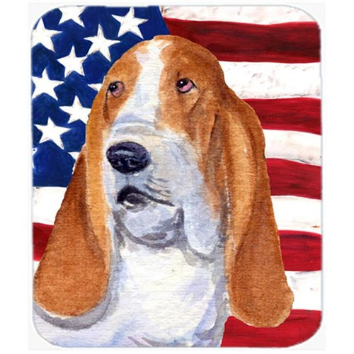 Carolines Treasures SS4013MP Usa American Flag With Basset Hound Mouse Pad Hot Pad Or Trivet