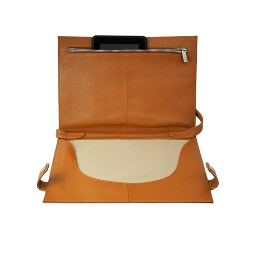 Piel Leather 3121 Mens Leather Folding Tablet Case Saddle