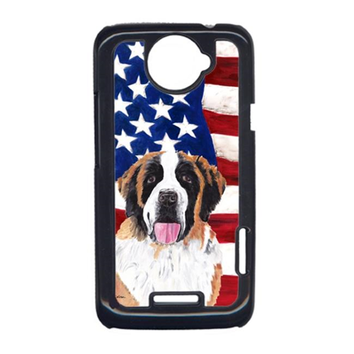 Carolines Treasures SC9027HTCONE USA American Flag With Saint Bernard HTC One X Cell Phone Cover
