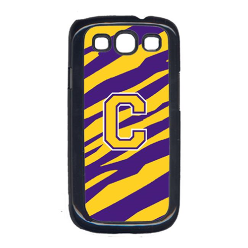 Carolines Treasures CJ1022-C-GALAXYSIII Tiger Stripe - Purple Gold Letter C Monogram Initial Galaxy S111 Cell Phone Cover
