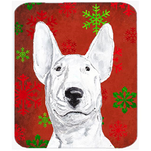 Carolines Treasures SC9590MP 7.75 x 9.25 in. Bull Terrier Red Snowflake Christmas Mouse Pad Hot Pad or Trivet