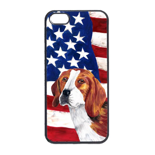 Carolines Treasures SC9005IP4 USA American Flag With Beagle Iphone 4 Cover
