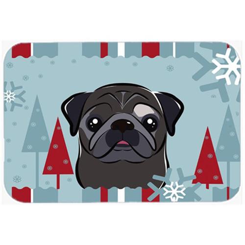 Carolines Treasures BB1759MP Winter Holiday Black Pug Mouse Pad Hot Pad & Trivet
