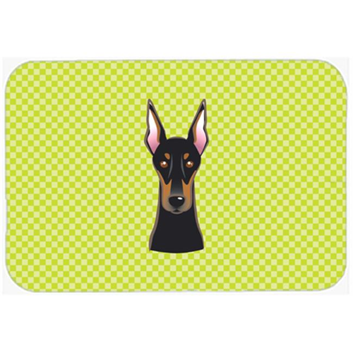 Carolines Treasures BB1307MP Checkerboard Lime Green Doberman Mouse Pad Hot Pad Or Trivet 7.75 x 9.25 In.