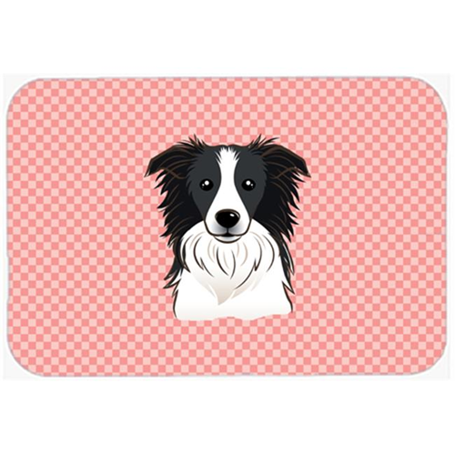 Carolines Treasures BB1241MP Checkerboard Pink Border Collie Mouse Pad Hot Pad Or Trivet 7.75 x 9.25 In.