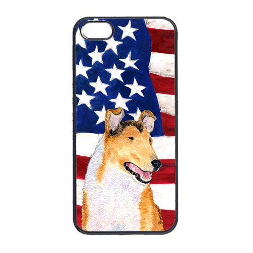Carolines Treasures SS4226IP4 USA American Flag With Collie Smooth Iphone 4 Cover