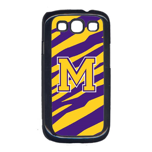 Carolines Treasures CJ1022-M-GALAXYSIII Tiger Stripe - Purple Gold Letter M Monogram Initial Galaxy S111 Cell Phone Cover