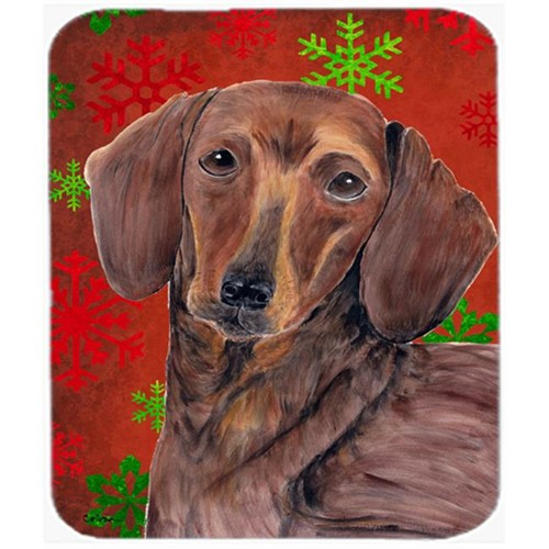 Carolines Treasures SC9408MP Dachshund Red And Green Snowflakes Christmas Mouse Pad Hot Pad Or Trivet