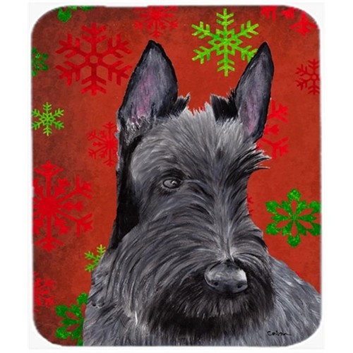 Carolines Treasures SC9426MP Scottish Terrier Red Green Snowflakes Christmas Mouse Pad Hot Pad Or Trivet