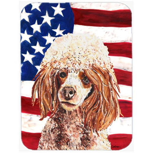 Carolines Treasures SC9627MP Red Miniature Poodle With American Flag Usa Mouse Pad Hot Pad Or Trivet 7.75 x 9.25 In.