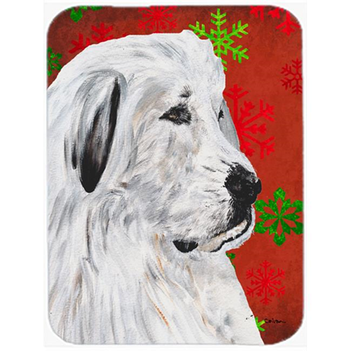 Carolines Treasures SC9762MP Great Pyrenees Red Snowflakes Holiday Mouse Pad Hot Pad Or Trivet 7.75 x 9.25 In.