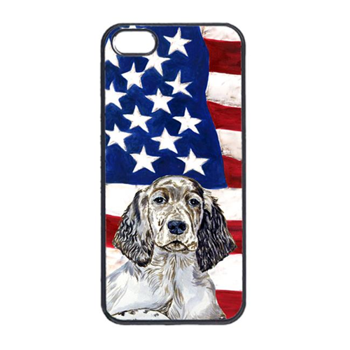 Carolines Treasures LH9022IP4 USA American Flag With English Setter Iphone 4 Cover