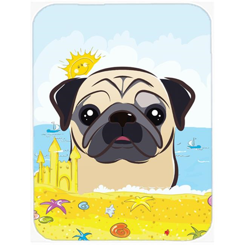 Carolines Treasures BB2130MP Fawn Pug Summer Beach Mouse Pad Hot Pad or Trivet