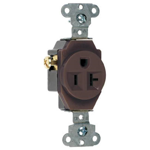 Pass & Seymour 5351CC8 20A Heavy Duty Single Outlet Brown