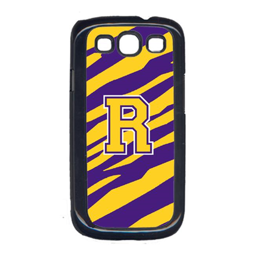 Carolines Treasures CJ1022-R-GALAXYSIII Tiger Stripe - Purple Gold Letter R Monogram Initial Galaxy S111 Cell Phone Cover