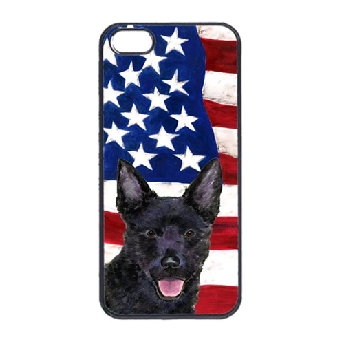 Carolines Treasures SS4025IP4 USA American Flag With Australian Kelpie Iphone 4 Cover