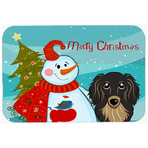 Carolines Treasures BB1833MP Snowman With Longhair Black And Tan Dachshund Mouse Pad Hot Pad & Trivet