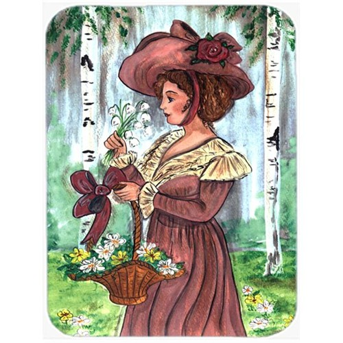 Carolines Treasures CN5002MP 7.75 x 9.25 In. Fancy Lady with Hat and Flowers Mouse Pad Hot Pad or Trivet